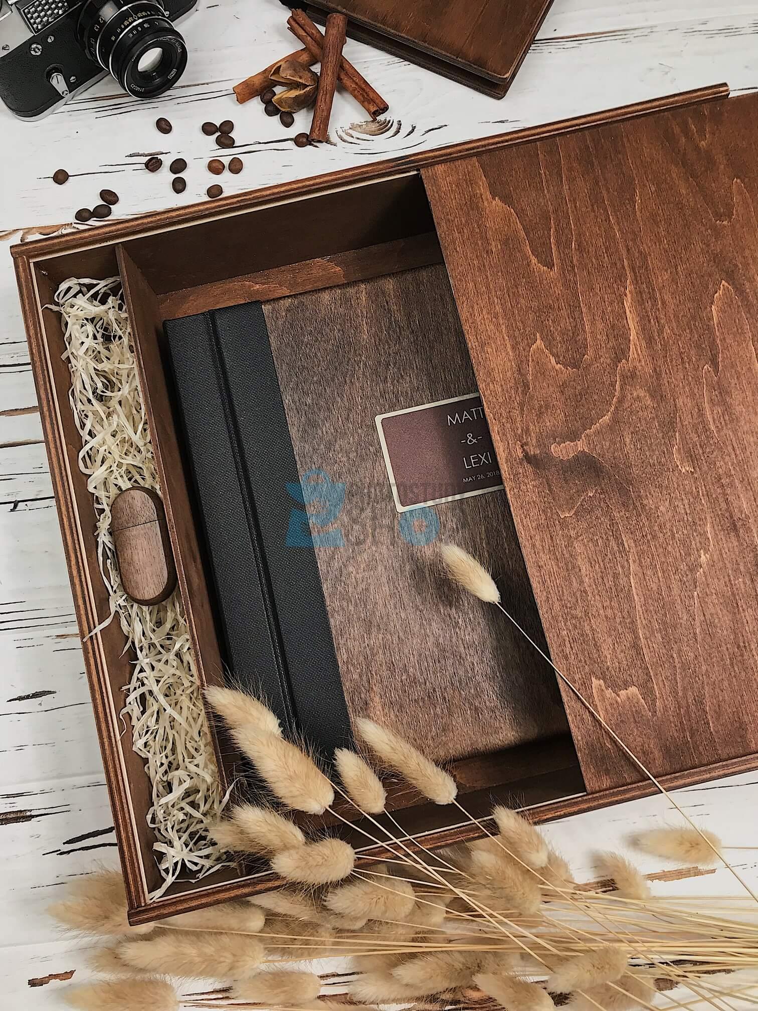 Деревянная коробка для книг Вид 2